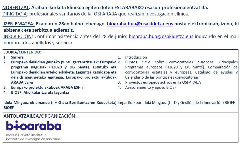 Jornada BIOARABA 29-06-2016